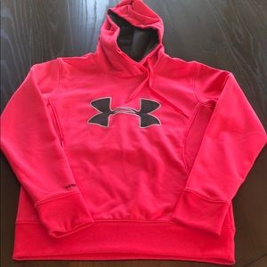 Bright Pink Under Armour Hoodie Small Good Cond